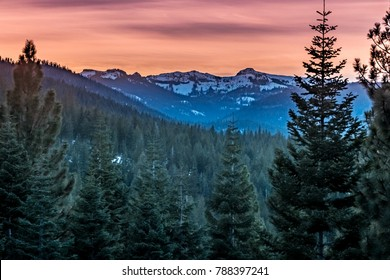 Sunset in the Sierra Nevada Mountain range in early winter in Truckee, California, near Lake Tahoe and not far from Reno, Nevada.