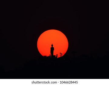 Sunset and Silhouette of buddha