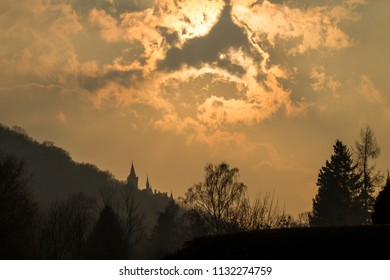 Sunset with Silhouette of the castle of Wernigerode
