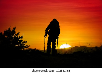 sunset silhouette, climber silhouette, hiking