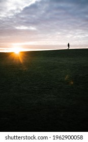 Sunset with silhouette in Kastrup, Denmark