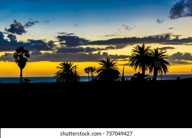 Sunset silhouette landscape at shore of river in Montevideo city, Uruguay