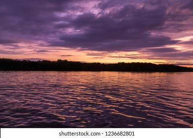 Sunset and silhouette of nature landscape on the Guayas River  with purple light in Guayaquil, Ecuador