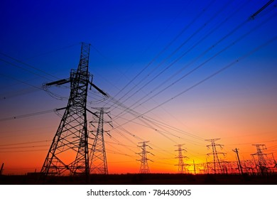 Sunset silhouette of pylon