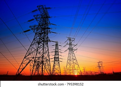 Sunset silhouette of pylon