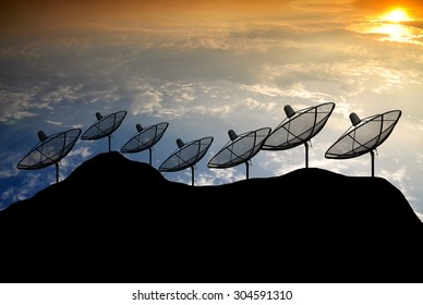 Sunset Silhouette  Satellite dish on hill