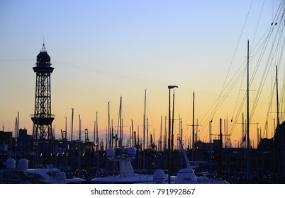 Sunset Silhouettes in the Port Area - January 2018 - Barcelona, Spain