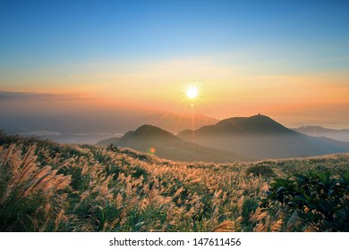 Sunset with silver-grass over Yangmingshan National Park