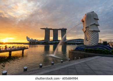 Sunset of Singapore Skyline. Singapore`s business district, blue sky and night view for marina bay
