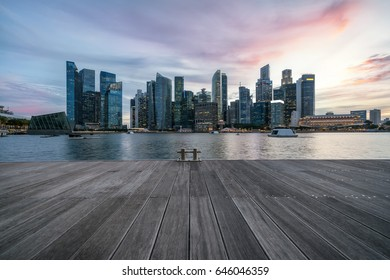 Sunset in Singapore's financial district