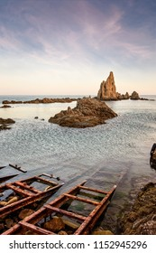 Sunset at The sirens reef in Cabo de Gata, Almeria, Spain