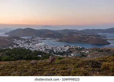 Sunset at Skala of Patmos from Chora, Patmos, Dodekanesse, Aegean Sea, Greece
