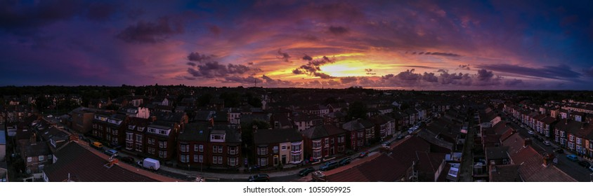 Sunset in the sky. A 21 image aerial Panorama .