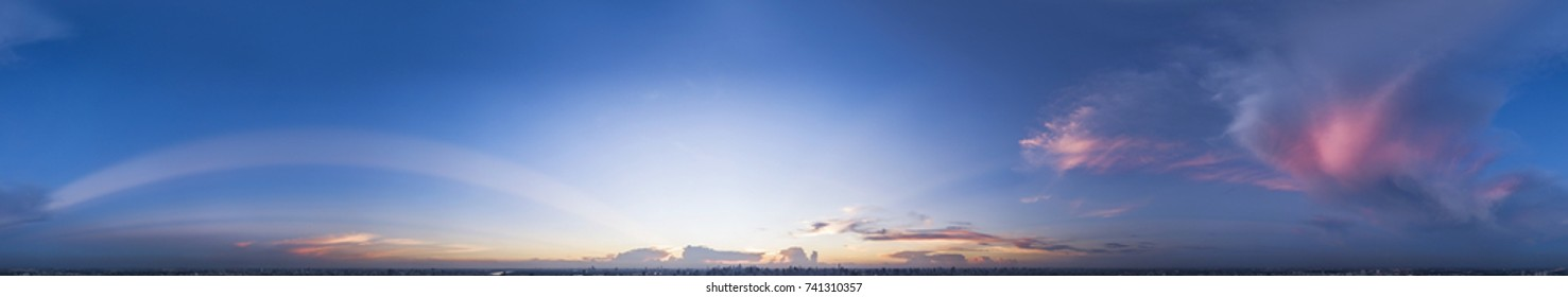 Sunset sky 360 seamless panorama with dramatic cloud in spherical format, THAILAND