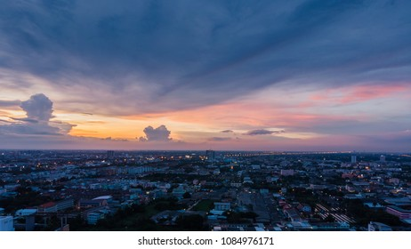 sunset sky from above