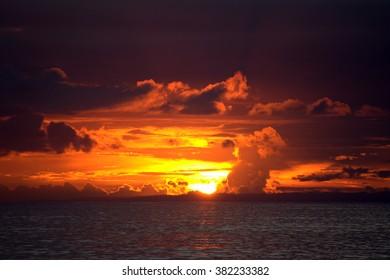 Sunset sky againts blue sky