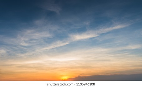 Sunset sky for background with Clouds