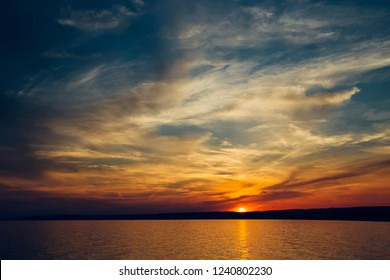 Sunset sky background. Natural Sunset Sunrise Over Sea.
