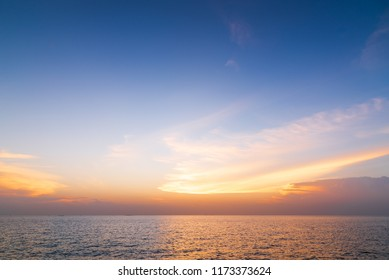 Sunset sky background over the sea ,Nature background.