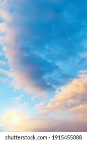 Sunset sky background, picturesque vast sky panoramic scene with picturesque pink clouds