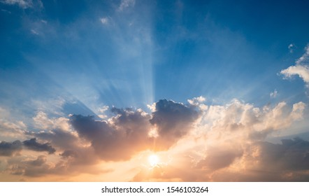 Sunset sky background,Landscape blue sky with clouds nature concept for cover banner background.