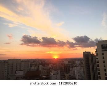 sunset sky blue yellow scene scenario