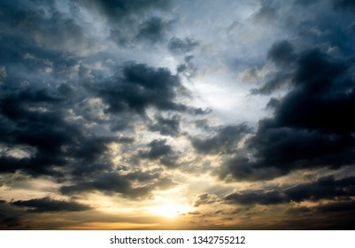 Sunset sky with clouds, Nature background
