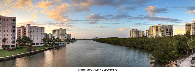Sunset sky and clouds over the Vanderbilt Channel river