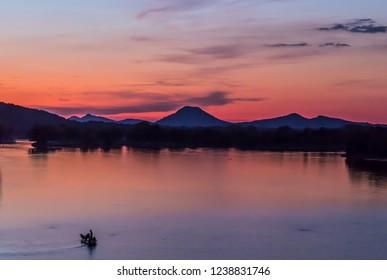 Sunset sky colors - Fishing in the lake - Little Rock Arkansas