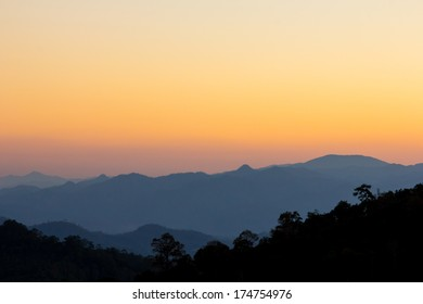 Sunset sky of mountain view at chiang dao, Thailand