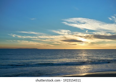 Sunset sky and ocean. Minimalistic nature background. Panorama sunset at Atlantic ocean from Tarifa coast in Cadiz, Andalusia, Spain
