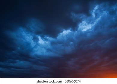 Sunset sky ominous clouds