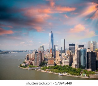 Sunset sky over Lower Manhattan, aerial view from helicopter