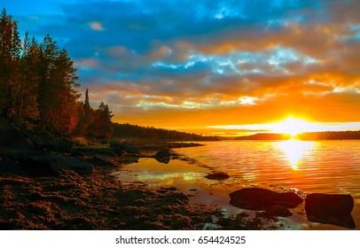 Sunset sky over river landscape, nature background