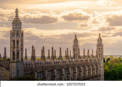 Sunset sky over spires in Cambridge, UK