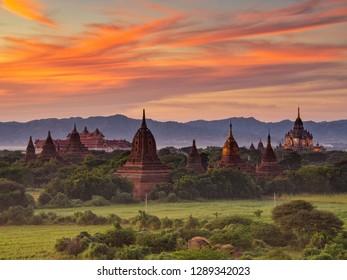 Sunset sky and Pagoda at Old Bagan, Myanmar