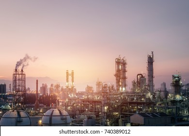 Sunset sky in petrochemical industry view, Factory of oil and gas refinery industrial at evening