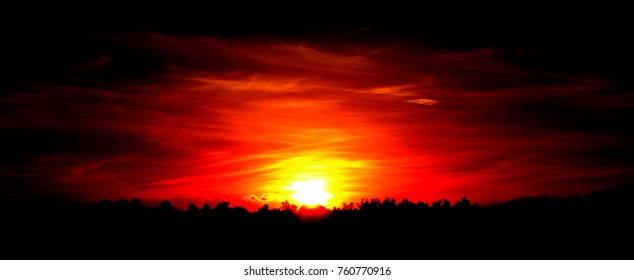 sunset sky red panorama background.