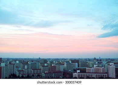 Sunset sky and silhouette of Tokyo skyscrapers
