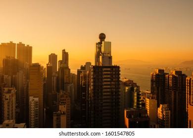 sunset sky and skyscraper city skyline, HongKong