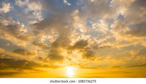 sunset sky with sun light background