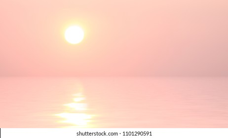 Sunset sky with sun reflected in water.