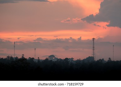 Sunset sky with telecommunication