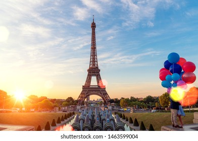 Sunset sky, view of the Eiffel Tower and La Defense district in Paris, France