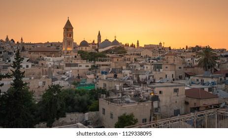 Sunset skyline of the Christian Quarter of the Old City, Jerusalem
