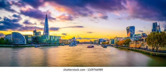 Sunset skyline of London viewed from Tower Bridge