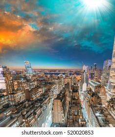 Sunset skyline of Manhattan - New York City, USA.
