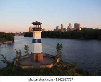 Sunset Skyline of Minneapolis with Lighthouse