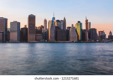 Sunset skyline panorama in New York