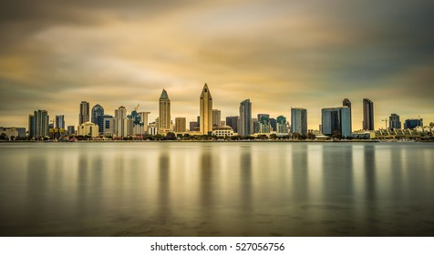 Sunset skyline of San Diego downtown, California. Long exposure.